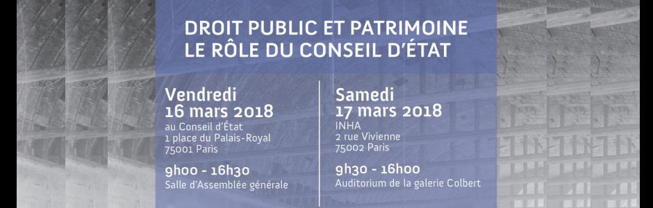 Colloque Droit publique Conseil d'Etat mars 2018