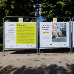 """Accrochage de l'exposition """"Patrimoine et Citoyenneté"""" de Mantes-la-Jolie sur les panneaux électoraux de la ville"""